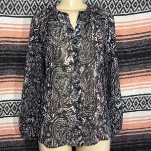 KUT FROM THE KLOTH SEMI SHEER LONG SLEEVE BLOUSE S